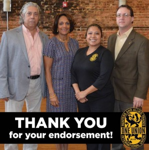 Baltimore Mayoral Candidate Sheila Dixon (second from left) with IUPAT District Council 51 BMST Lynn Taylor (right), DC 51 Political Director Roxana Mejia and IUPAT Assistant to the General President Scott Duhamel.