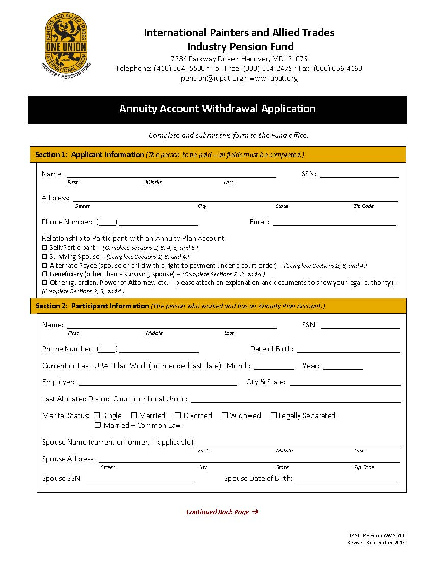 Annuity Withdrawal Application