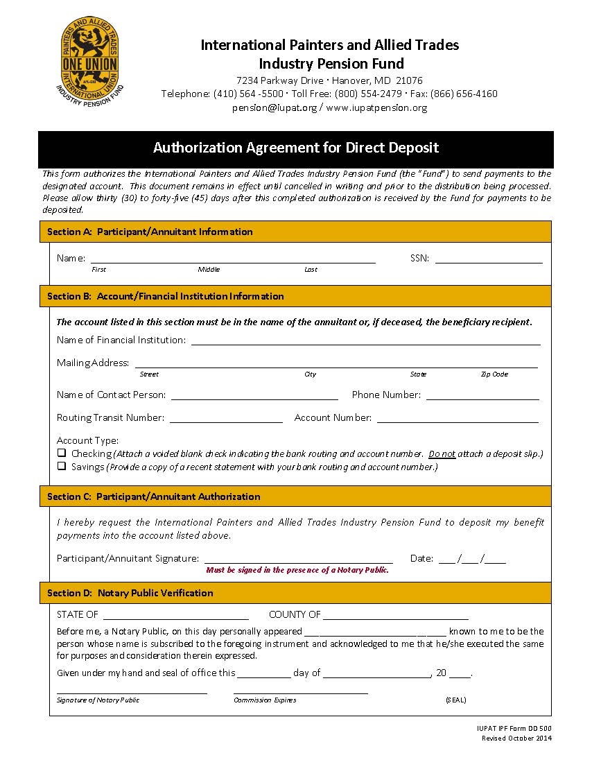Direct Deposit Form – US