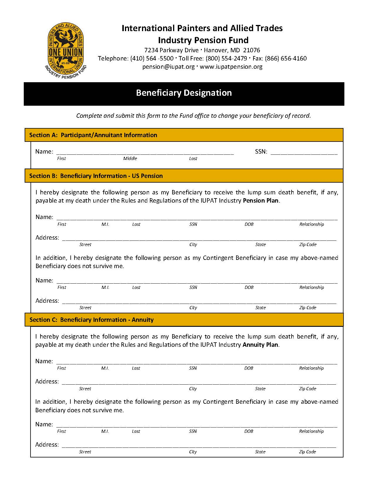 Beneficiary Designation Form – US