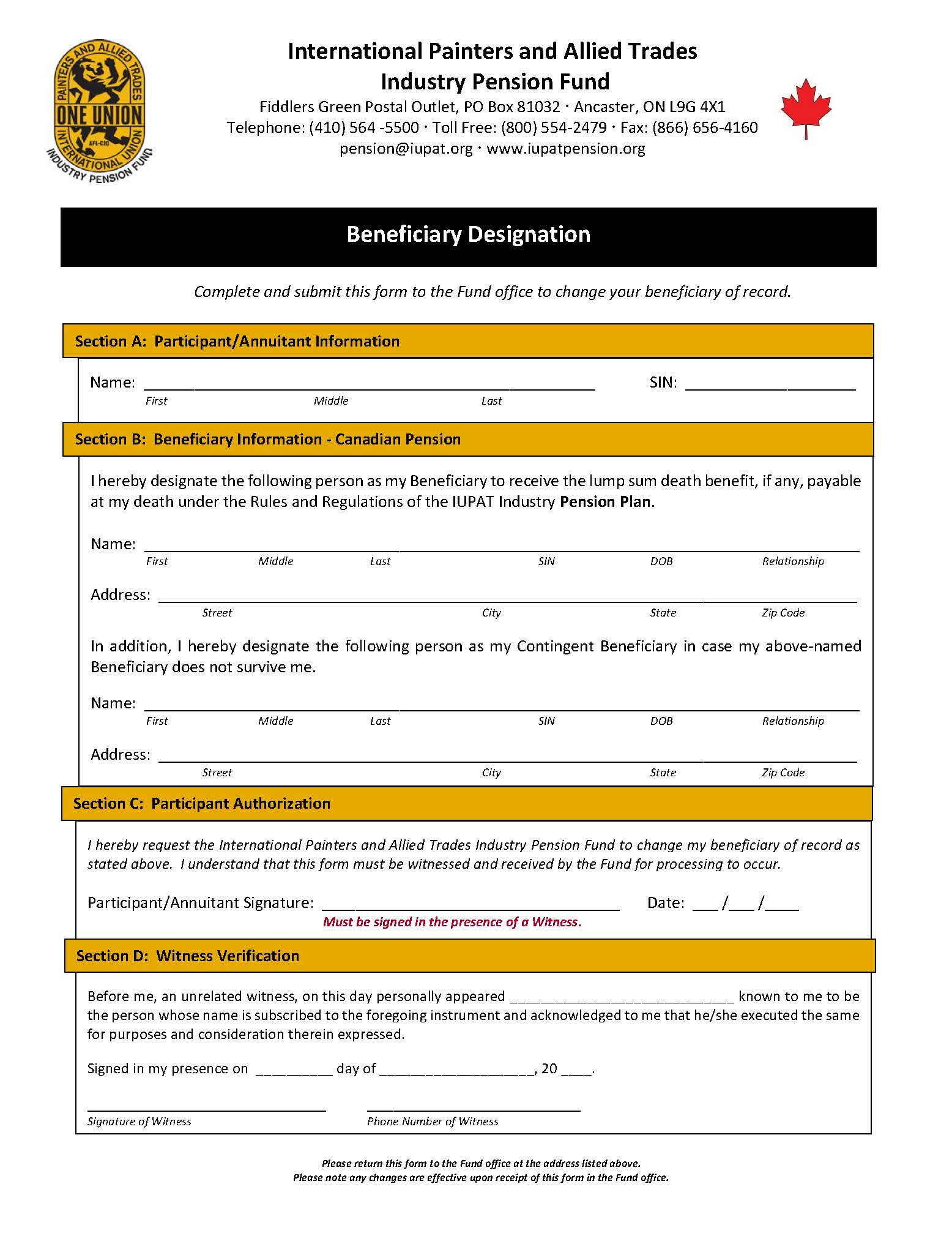 Beneficiary Designation Form – Canada