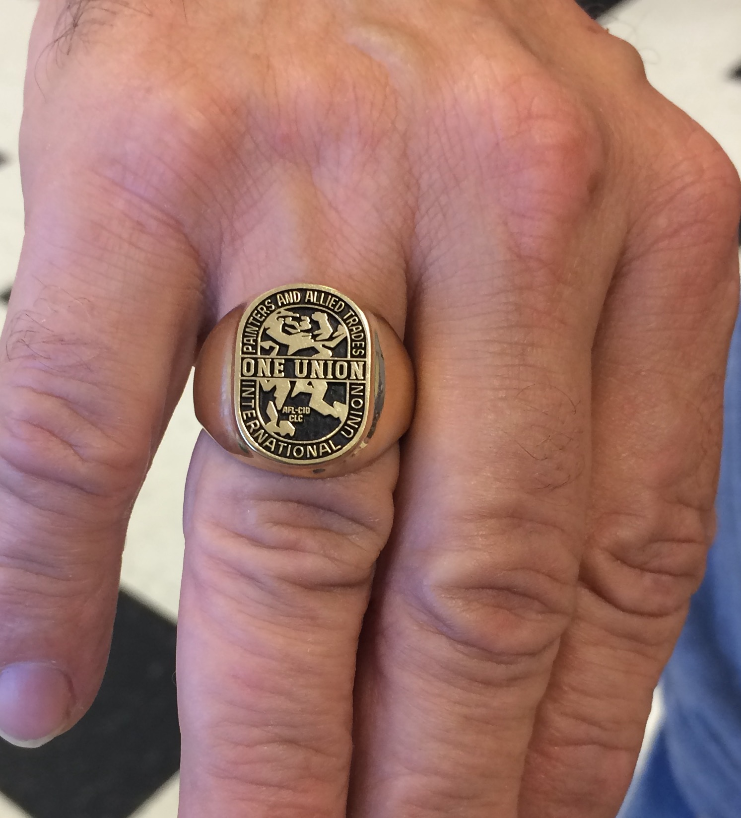 A close-up of Dave Crisp's ring.