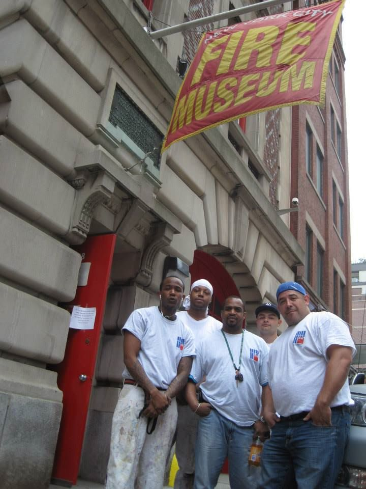 District Council 9 volunteers Raymond Hills, Don Craig, Omar Robinson, Robert Bilella and Rony Luna at the historic NYC Fire Museum.