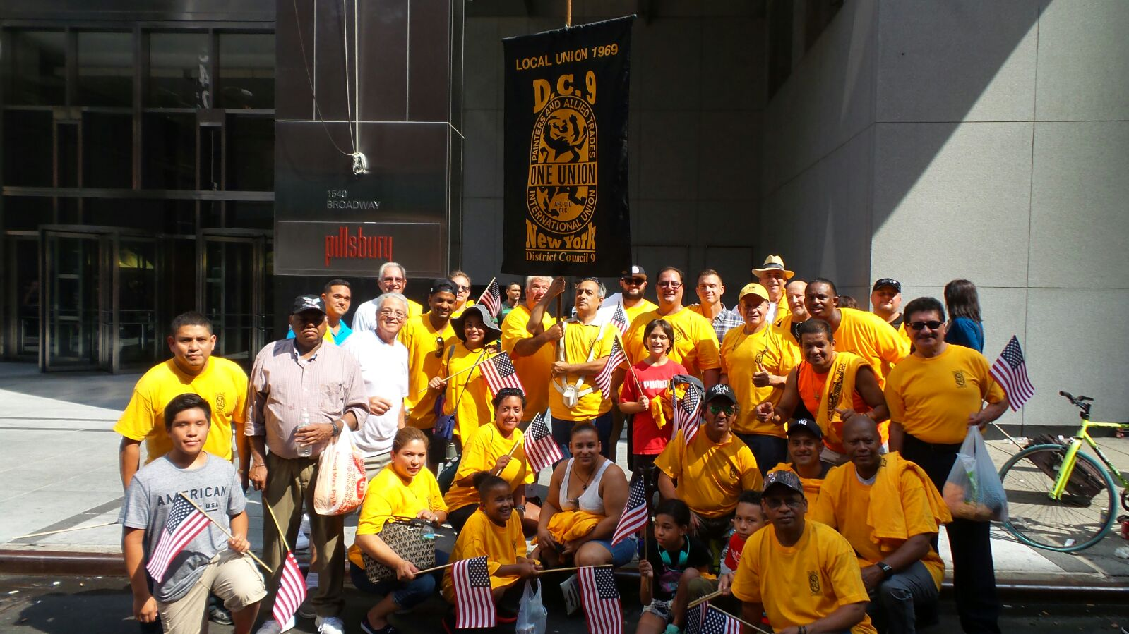 District Council 9 members and their families pose for the camera at the Labor Day Parade in New York City.