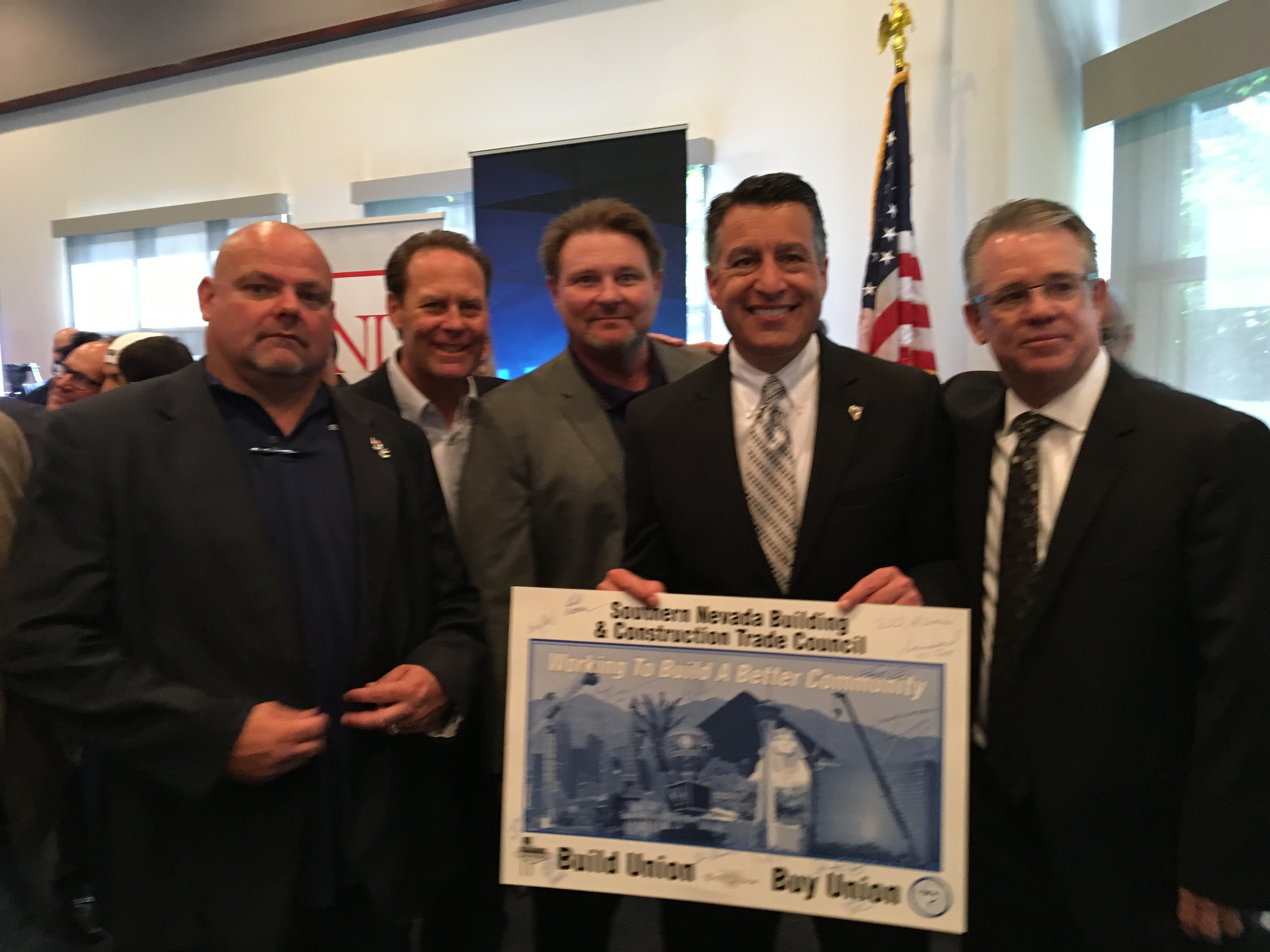DC 15 Business Manager/Secretary Treasurer John Smirk, Bill Stanley from the Southern Nevada Building Trades, and Governor Bryan Sandoval.