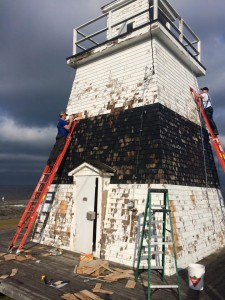 The Margaretsville Lighthouse on the shores of Bay of Fundy in Novia Scotia before painting.